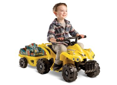 Mini Quad™ Battery Ride-On ATV with Trailer, Yellow