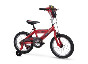 "Disney Cars Kid Bike Quick Connect Assembly, Handlebar Plaque w/ Sounds & Training Wheels, 16"" Red"