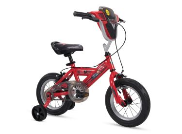 "Disney Cars Kid Bike Quick Connect Assembly, Handlebar Plaque w/ Sounds & Training Wheels, 12"" Red"