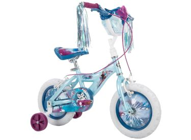 Disney Frozen 2 Kid Bike, Training Wheels, Streamers & Basket Included, 12 inch, Blue