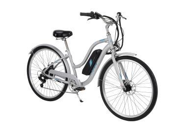 "Huffy Everett 27.5"" Electric Bike for Adults, Silver"