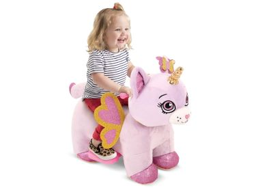 Rainbow Unicorn Kitten Plush Toddler Electric Ride-On Toy, 6V