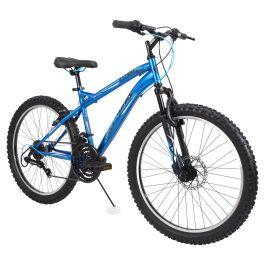 "Huffy Mountain Bike 24"" Blue Front Suspension Men Bicycle Disc Brake Shimano new"