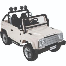 Land Rover Defender Kids' Battery Ride-On Car, White, 12V
