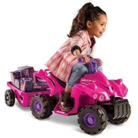Mini Quad™ Battery Ride-On ATV with Trailer, Pink