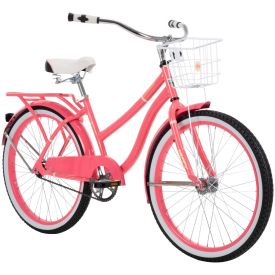 Comfort cruiser bike in gloss pink featuring a large wire basket