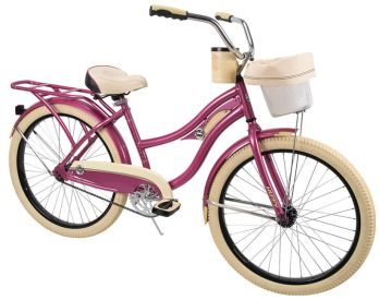 Comfort cruiser bike in metallic pink featuring a basket, a cupholder, and a rear rack