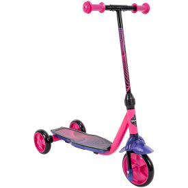 Neon pink and purple scooter has a 3-wheel design
