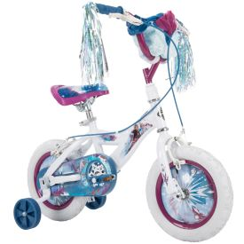 Disney Frozen 2 Kid Bike, Training Wheels, Streamers & Basket Included, 12 inch, White