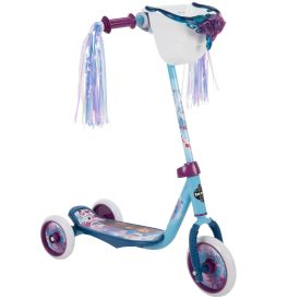 Disney Frozen 2 Preschool Scooter, Elsa & Anna Graphics, Handlebar Bin, Three Wheels & Streamers