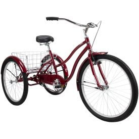 red adult tricycle with basket and comfort design