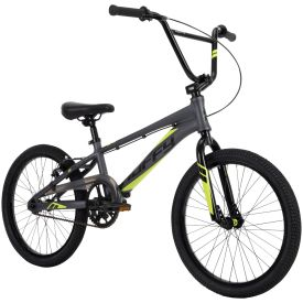 BMX Race Bike has a dark gray color with striking neon yellow accents