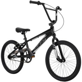 Black, bmx race bike has striking graphics