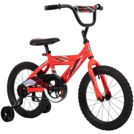 Neon red boys bike