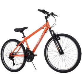 24-inch neon orange, gray, and black colored Huffy Bike