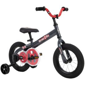 kids 12-inch convertible bike in black and red