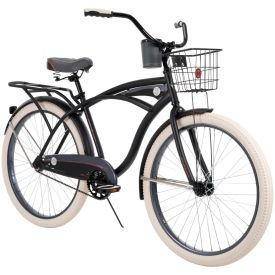 Classic style beach cruiser bike in matte black with wire basket