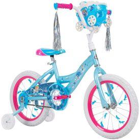 Blue Disney Princess Cinderella bike with handlebar basket and streamers