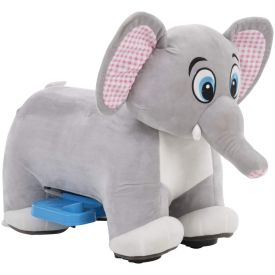 Plush Elephant Ride-On Toy with large checker-pattern pink ears