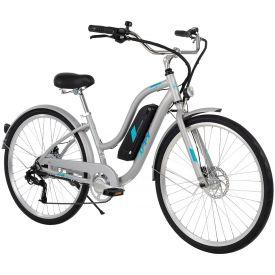"Silver 27.5"" women's Everett + electric comfort bike"