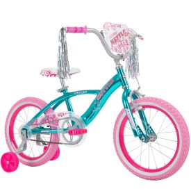 Metallic blue bike features fun pink graphics