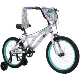 18 inch bicycle in purple, blue, green, and white