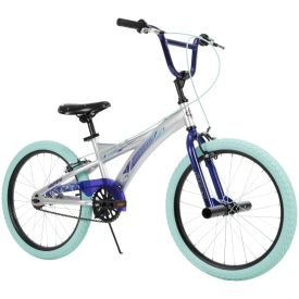 Silver flake color bike with dark purple and light blue features