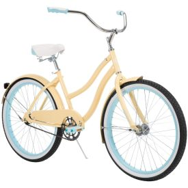Girls cruiser bike in pale yellow with blue accents