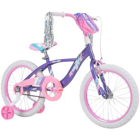 18-inch bike for girls with purple features and a light pink handlebar bag