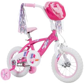 Girls 12-inch Huffy bike with pink features and a handlebar bag