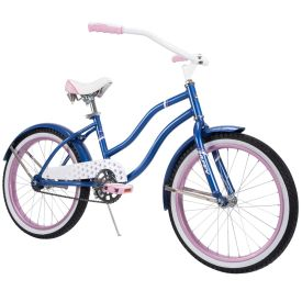 20-inch beach cruiser bike in dark blue with pink accents