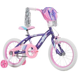 Huffy 16-inch kids bike in purple with light pink features