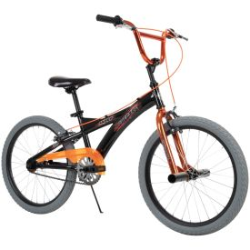 Huffy kids bmx style bike in black with metallic orange features