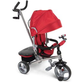 Red stroller changes into a kids tricycle
