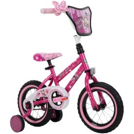 12-inch Minnie Mouse bike with training wheels has a fun, polka-dot design