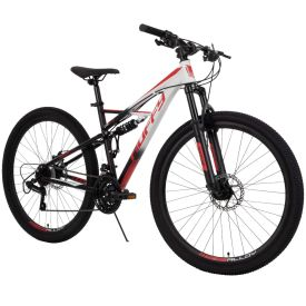Black and red mountain bike by Huffy