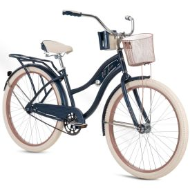 Women's beach cruiser in dark navy blue with rose gold features
