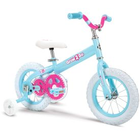 kids 12-inch convertible bike in light blue with pink features