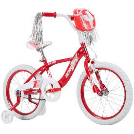 Red girls bike with streamers and a bag to carry her favorite toys