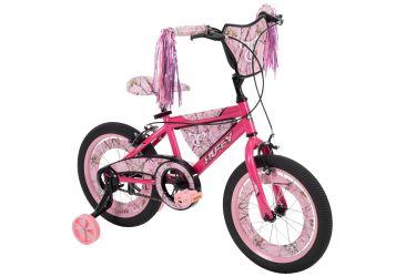 "16"" pink True Timber bike"