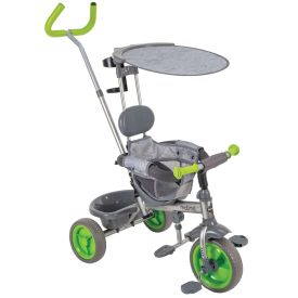 Convertible stroller in gray and green transforms into a kids tricycle