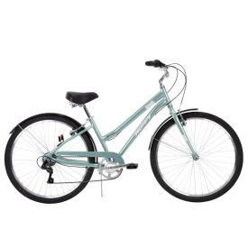Women's comfort bike in a light blue color has an aluminum frame