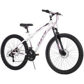 26-inch MTB in white with purple graphics