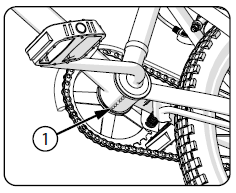 Line drawing of a bicycle from below, a call out labeled with a number one points at the bottom of the bottom bracket